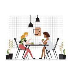 pair young women girlfriends sitting at vector image