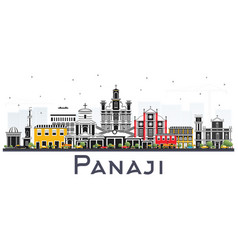 Panaji india city skyline with color buildings vector