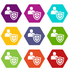 patient protection icons set 9 vector image