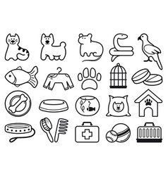 pets care icon set vector image