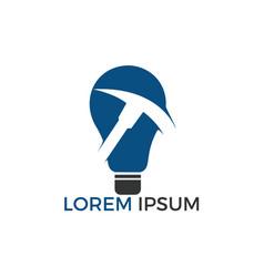 pickaxe and light bulb mining logo design vector image