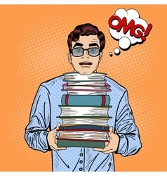 Pop art man student holding stack of books vector