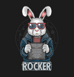 rabbit rock n roll bunny artwork vector image