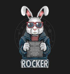 Rabbit rock n roll bunny artwork vector