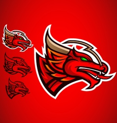 Red dragon emblem logo vector