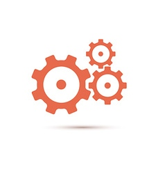 Red gearwheel mechanism in vector image