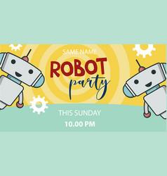 Robot party promo banner vector