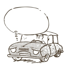 Sad and tired car vector