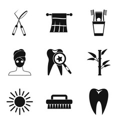 Sanitary cleaning icons set simple style vector