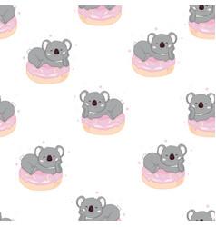 seamless cute cartoon koala pattern vector image