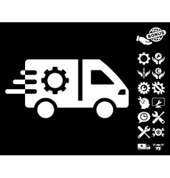 Service Car Icon with Tools Bonus vector image