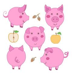 Set of cute cartoon pink pig face profile back vector