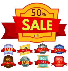 Set of different nine discount stickers vector