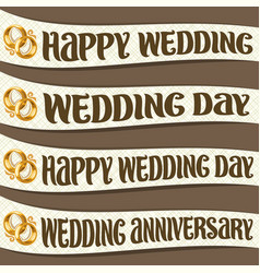 set of ribbons with wedding wishes vector image