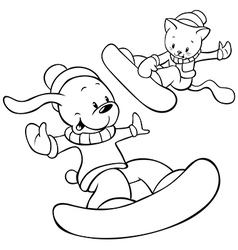 snowboard cat and dog vector image