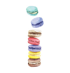 Stack of colorful watercolor macaroon cakes vector
