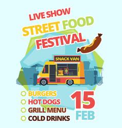 street food festival poster flat vector image
