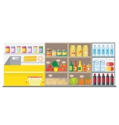 Supermarket shop interior with showcase and vector