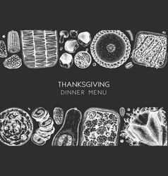 thanksgiving dinner menu design with roasted vector image