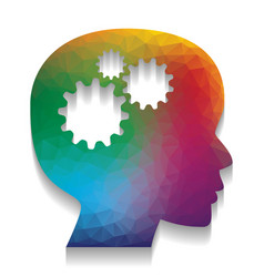 thinking head sign colorful icon with vector image