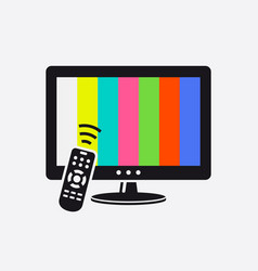 Tv and remote control icon with test pattern vector