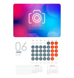 Wall calendar planner template for june 2018 vector