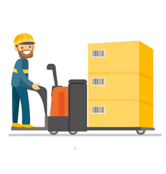 Warehouse worker on the background of forklift vector