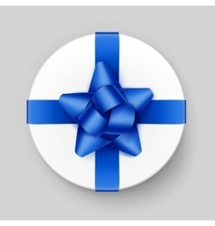 White Box with Blue Bow and Ribbon Top View vector