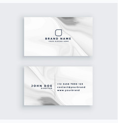 white modern marble style business card vector image
