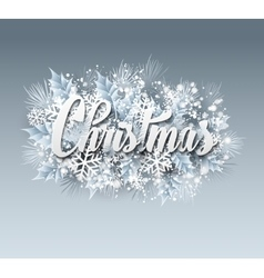 Winter inscription with fir branches and vector image