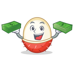 With money rambutan mascot cartoon style vector