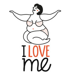 with smiling woman in swimsuit and lettering text vector image
