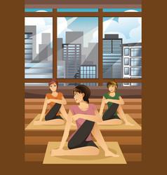 women doing yoga vector image