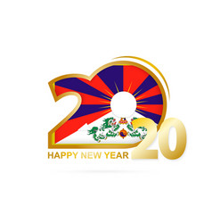 Year 2020 with tibet flag pattern happy new year vector