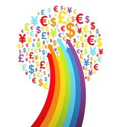 Abstract rainbow money tree vector image