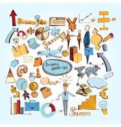 Business doodle set vector image