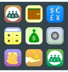 Flat icons monetary topics for web and mobile vector image vector image
