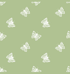 flying butterfly seamless pattern in retro style vector image