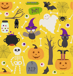 seamless pattern with halloween elements on yellow vector image vector image