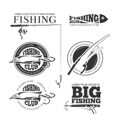 Vintage fishing labels logos emblems set vector image vector image