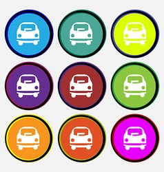 Car icon sign Nine multi colored round buttons vector image