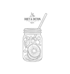 Fruit Smoothie In A Jar Hand Drawn Realistic vector image vector image