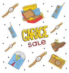 garage sale hand drawn seamless pattern camera vector image