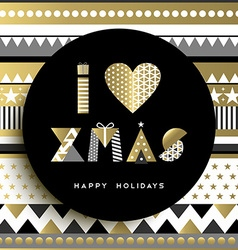 Gold Merry Christmas quote abstract shape design vector image vector image