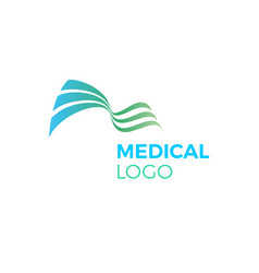 green blue abstract medical logo curves waves vector image