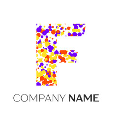 letter f logo with purple yellow red particles vector image vector image