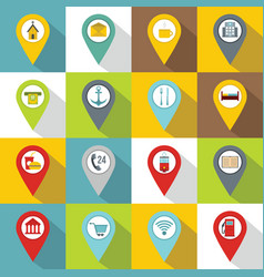 Points of interest icons set flat style vector