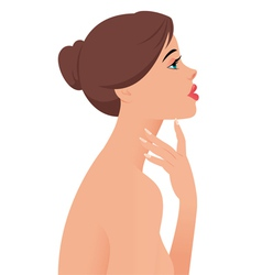 Portrait of the beautiful naked girl in profile vector image vector image