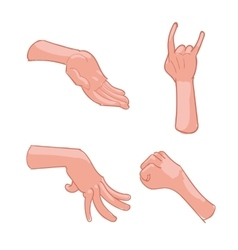 Set of hand gestures on white background vector image vector image