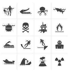 Black Warning Signs for dangers vector image vector image